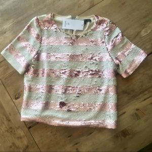 PINK AND CHAMPAGNE SEQUIN STRIPED TOP
